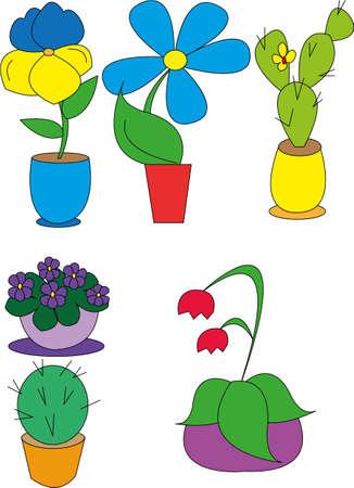illustration indoor plants in pots Vector