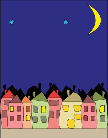 vector drawing of illustration - the night city Stock Vector - 16808895