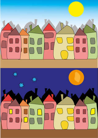 vector illustration of night and day Stock Vector - 16808897
