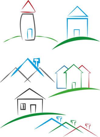 advertizing: illustration - emblems of houses Illustration