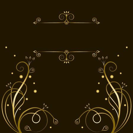 tracery: Decorative gold  tracery with frame for text Illustration