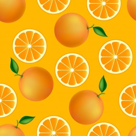 frutoso: Citrus padrão sem emenda com laranjas textura frutado Ilustração