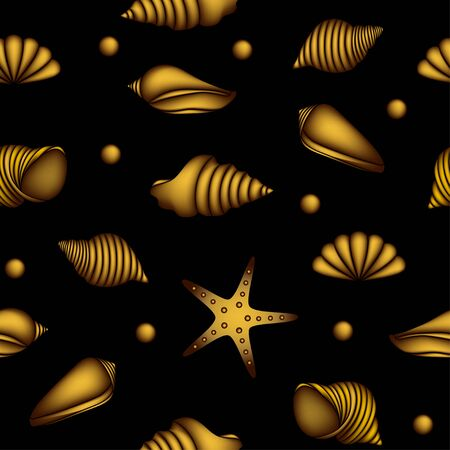 Seamless pattern with gold shells on black background Stock Vector - 21464564