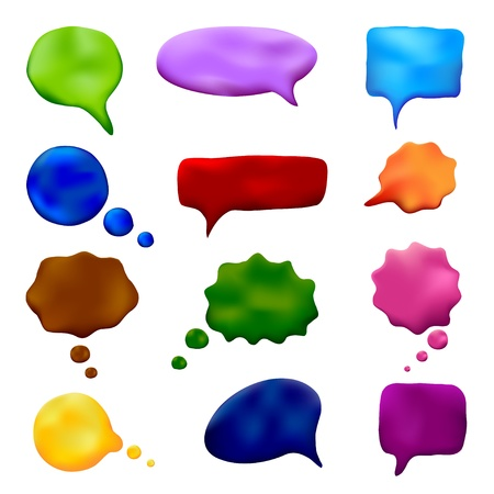 Plasticine set of multicolored speech and thought bubbles  Handmade  Vector illustration  Vector
