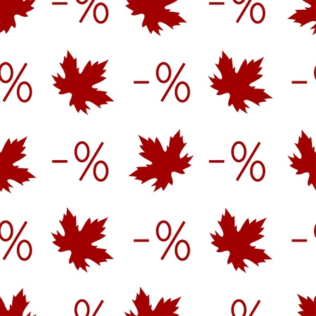 Autumn discount seamless pattern with percent symbols and maple leaves   Vector