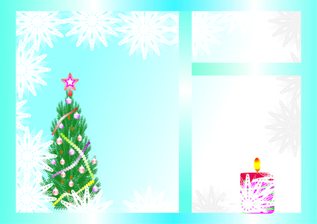 Christmas tree decorated with a bright garland and a candle Vector