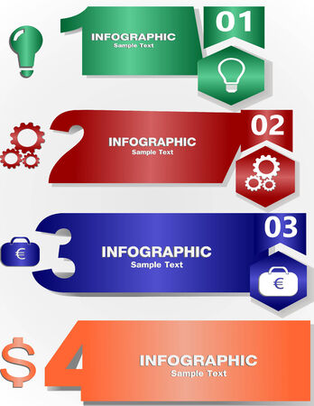 websit: Design clean number banners templategraphic or web site layout. Illustration