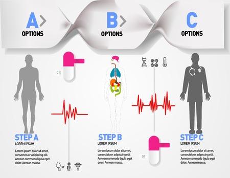 coraz�n y cerebro: Iconos y datos m�dicos, de salud y de atenci�n m�dica, informaci�n de elementos gr�fico del coraz�n, el cerebro, los ri�ones y otros �rganos humanos s�mbolos