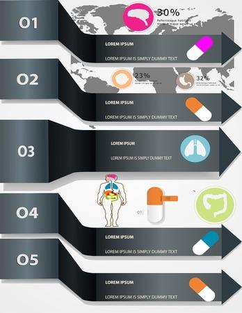 coraz�n y cerebro: M�dico, iconos de salud e higiene y de elementos de datos, informaci�n de coraz�n gr�fico, cerebro, ri�ones y otros �rganos humanos s�mbolos Vectores