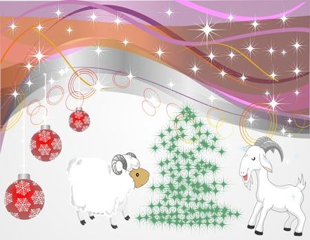 Christmas glitter balls on the pink background.  Illustration