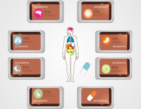 coraz�n y cerebro: Salud y asistencia sanitaria iconos y elementos de datos m�dicos, el coraz�n infograf�a, cerebro, ri�ones y otros �rganos humanos s�mbolos Vectores