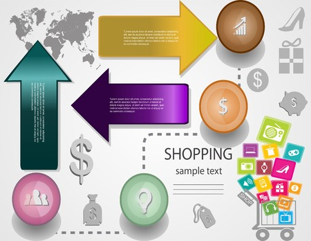 Shopping Icons with White Background,Sale promotion label paper template modern style template  can be used for info graphic horizontal cutout lines Vector