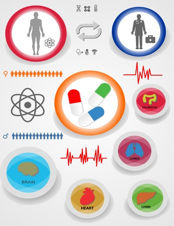 Medical health and healthcare icons and data elements Vector