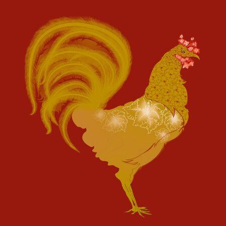 lunar calendar: Gold Rooster with Gladiola Motif