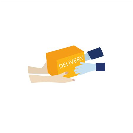 Concept of an online delivery service, tracking online orders, home and office delivery. Courier in protective gloves. Vector illustration.