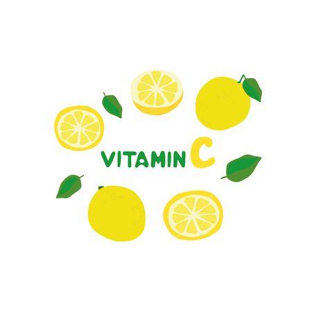 Vitamin C. Lemon in different types. Lemon juice. Prevention of colds and flu.