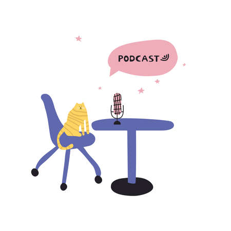 Topic of the podcast is the desktop microphone funny cat in the room. Media tool, mic and speech bubble doodle icon. Sound recording device. Illusztráció