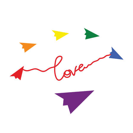 Color of paper planes as a symbol of minorities. Lettering love. Scrawl. LGBTQ pride month. Concept of love, equality, pride in your choice.