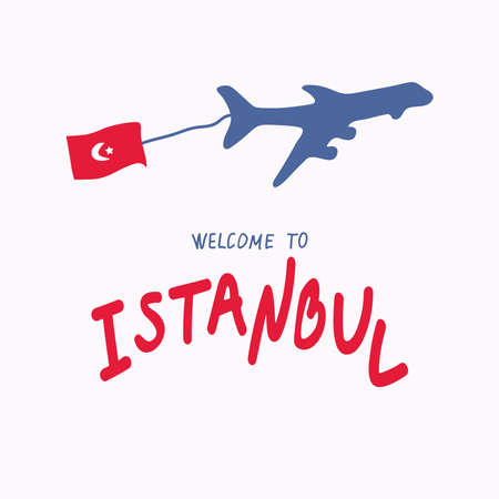 Travel to Turkey concept. Plane, the flag of Turkey. Welcome to Istanbul. Opening of borders.