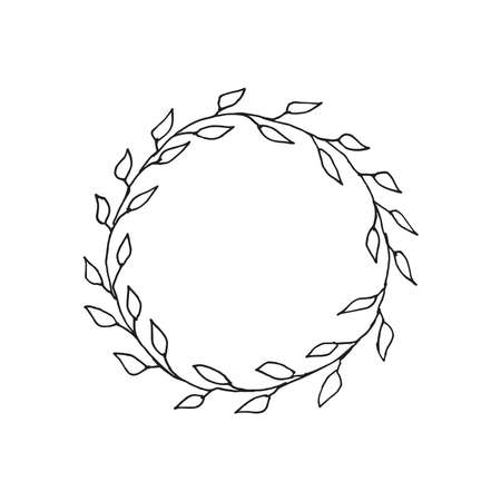 Frame wreath of leaves drawn by hand. Holidays, weddings concept. Иллюстрация