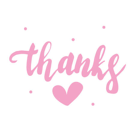 Lettering Thanks and heart pink isolated on a white background. thanksgiving day. Иллюстрация