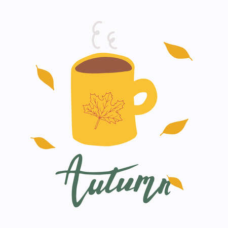 Mug of hot coffee, lettering Autumn. Morning coffee.