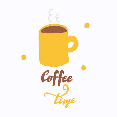 Mug of hot coffee, lettering Autumn time. Morning coffee.
