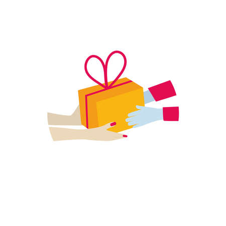 Contact less delivery for Christmas. Gloved hand holds a holiday gift. Receiving a parcel. 일러스트