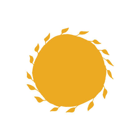 Yellow sun with the leaves of rays drawn by hand.Holidays, weddings concept. Иллюстрация