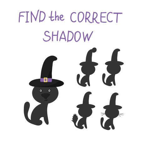 Vector illustration of a shadow matching game with a cat in a hat for Halloween for kids. Education of children. Exercises. Concept Of Halloween.