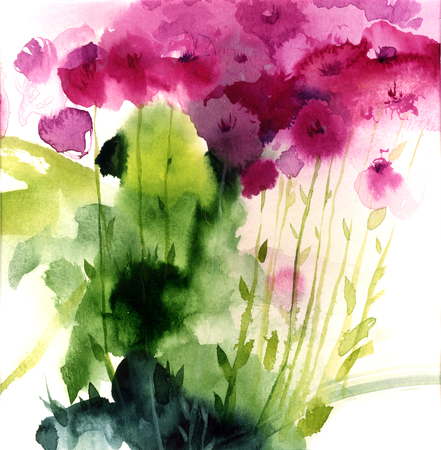 Watercolor pink wildflowers. Hand drawn illustration.