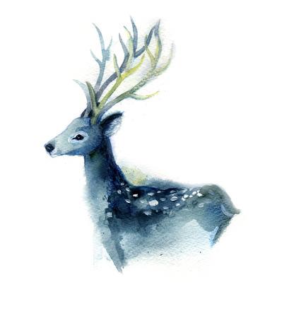 白地に美しい青い鹿の水彩スケッチ。手描き。