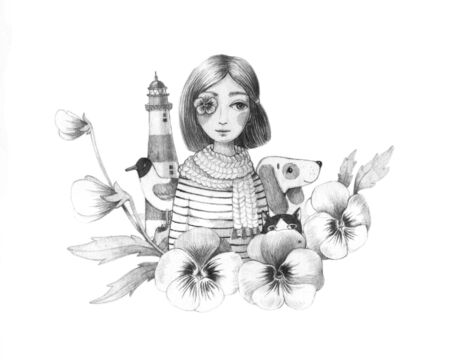 fashion story: The girl, a lighthouse, a cat, a dog, a seagull and flowers pansies. Hand drawing. Graphic arts.