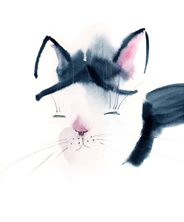 pussycat: Watercolor portrait of a cat. Hand drawn illustration. Stock Photo
