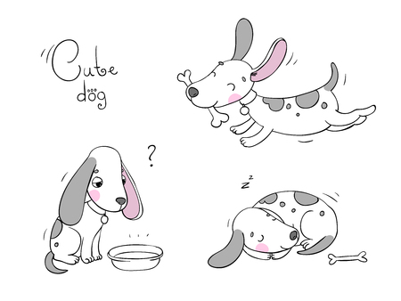 cute dog: Hand drawing isolated objects on white background. Vector illustration.