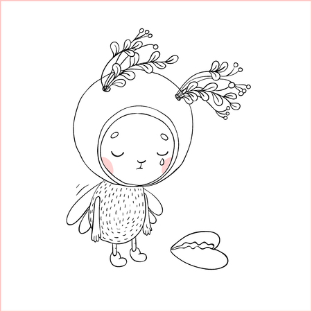 exquisite fairy: Forest Fairy and heart. Hand drawing isolated objects on white background. Vector illustration. Illustration