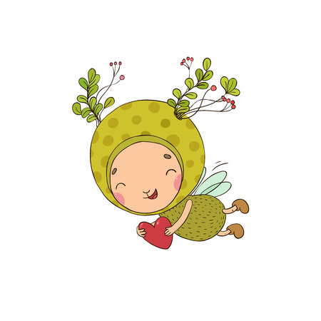 Forest Fairy . Hand drawing isolated objects on white background. Vector illustration. Vettoriali