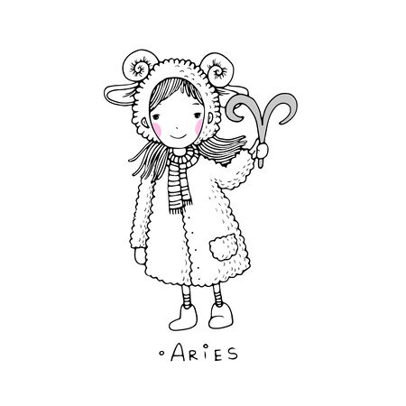 fur coat: Aries. A cute little girl in a fur coat. Hand drawing isolated objects on white background. Vector illustration.