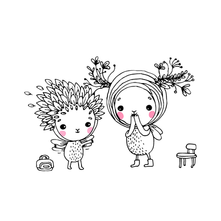 exquisite fairy: Two fairies on a white background. Hand drawn vector.