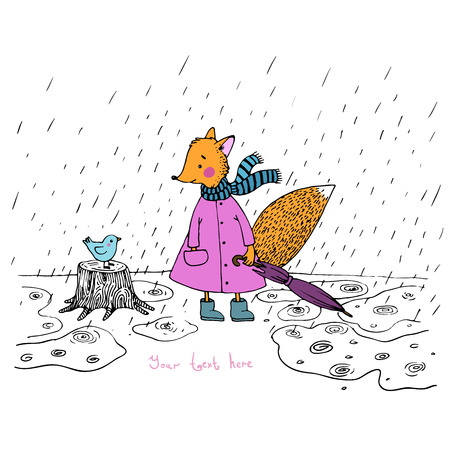 The story about the cute fox and the bird in the rain. Hand drawn vector.
