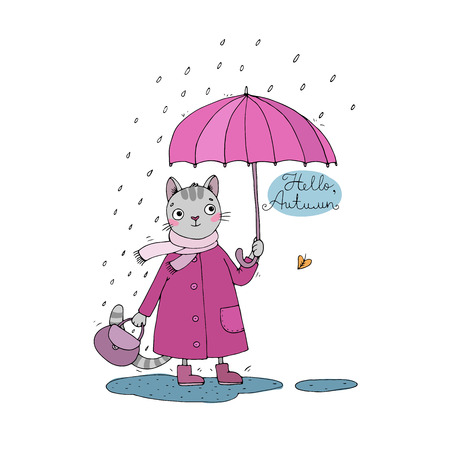 cold water: Cute cartoon cat, umbrella, rain and puddles. Hand drawing isolated objects on white background. Vector illustration. Hello, Autumn. Illustration