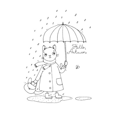 dampness: Cute cartoon cat, umbrella, rain and puddles. Hand drawing isolated objects on white background. Vector illustration. Hello, Autumn. Illustration