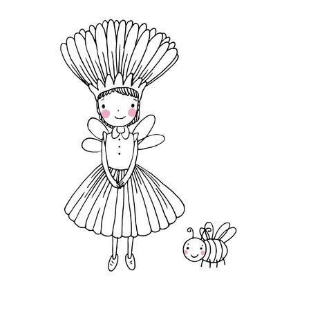 Cute little fairy and bumblebee.Hand drawn vector illustration. Stok Fotoğraf - 58911138