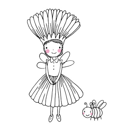 modest fashion: Cute little fairy and bumblebee.Hand drawn vector illustration.