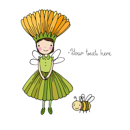surprisingly: Cute little fairy and bumblebee.Hand drawn vector illustration.