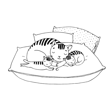 cushions: Cute cartoon cats on cushions. Hand drawing isolated objects on white background. Vector illustration.