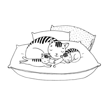 Nette Karikatur Katzen auf Kissen. Handzeichnungsobjekte auf weißem Hintergrund. Vektor-Illustration. Vektorgrafik
