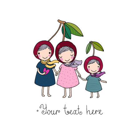 embarrassment: cute little girl cherry. Hand drawing isolated objects on white background. Vector illustration.
