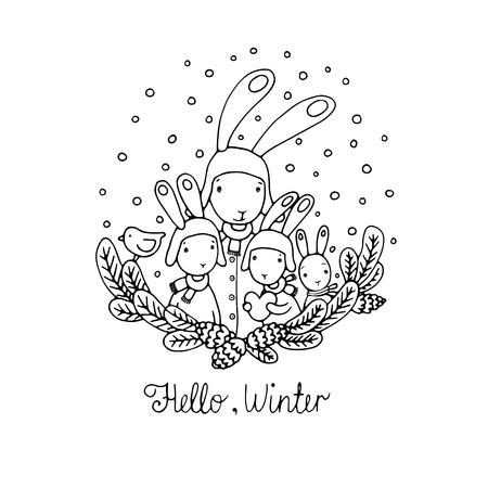 cold pack: Family of rabbits, tree branches and bird. Hand drawn vector illustration.