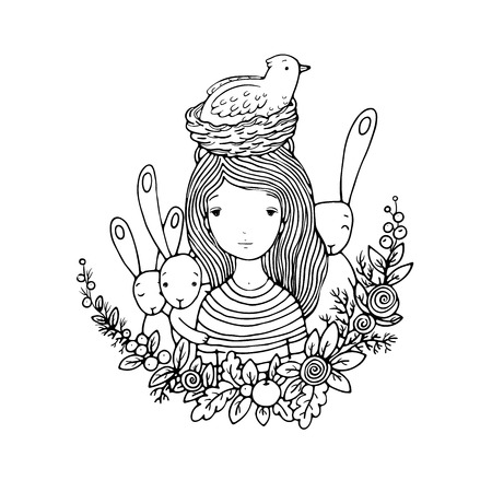 birds nest: beautiful young girl and birds, nest, birds and flowers. Hand drawn vector illustration. Illustration